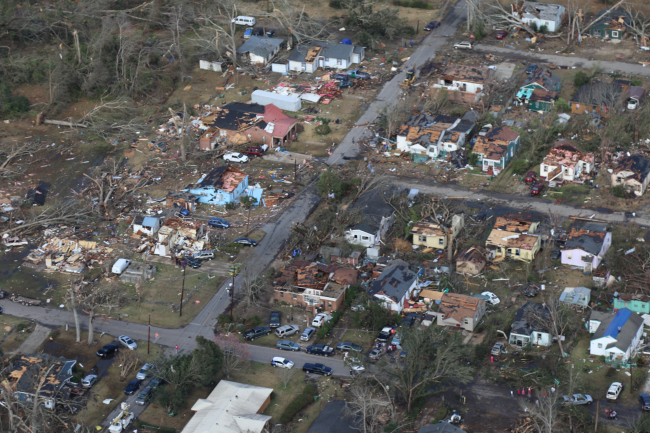 Residences of Hattiesburg and Petal, Miss., experience storm damage, Jan. 21, 2017. The tornado hit the area during the early morning hours.(Mississippi Army National Guard photo by Pfc.Christopher Shannon/Released)